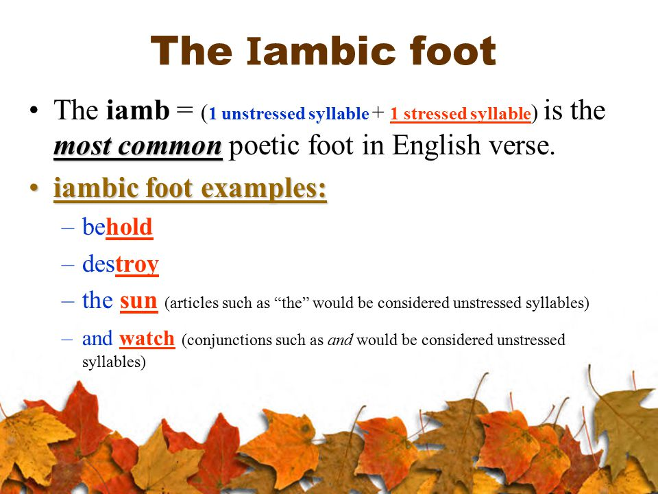 The I ambic foot most commonThe iamb = ( 1 unstressed syllable + 1 stressed syllable ) is the most common poetic foot in English verse. iambic foot ex