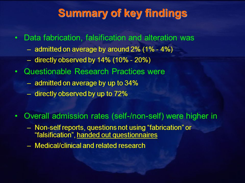Summary of key findings Data fabrication, falsification and alteration was –admitted on average by around 2% (1% - 4%) –directly observed by 14% (10% - 20%) Questionable Research Practices were –admitted on average by up to 34% –directly observed by up to 72% Overall admission rates (self-/non-self) were higher in –Non-self reports, questions not using fabrication or falsification , handed out questionnaires –Medical/clinical and related research