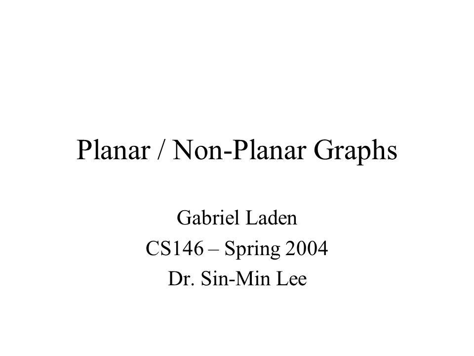 Planar / Non-Planar Graphs Gabriel Laden CS146 – Spring 2004 Dr. Sin-Min Lee