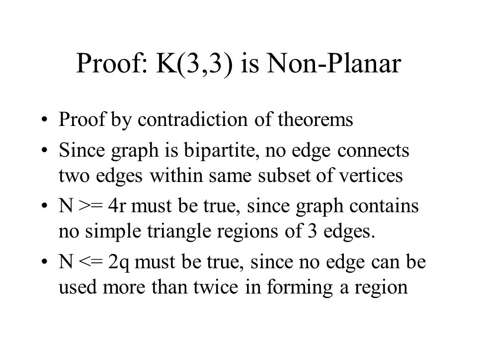 Proof: K(3,3) is Non-Planar Proof by contradiction of theorems Since graph is bipartite, no edge connects two edges within same subset of vertices N >