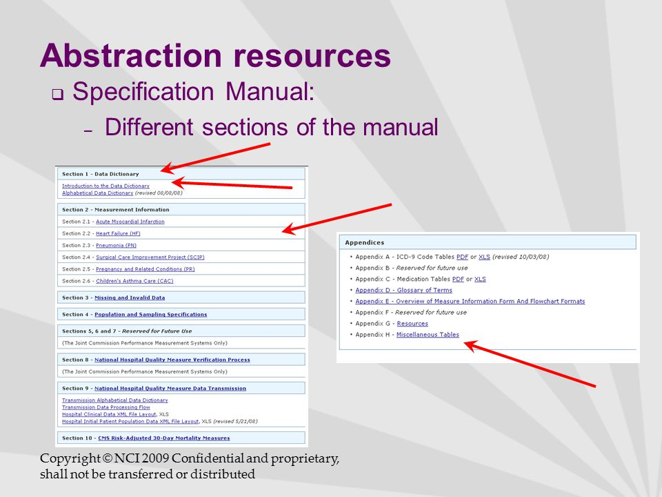 Abstraction resources  Specification Manual: – Different sections of the manual Copyright © NCI 2009 Confidential and proprietary, shall not be transferred or distributed