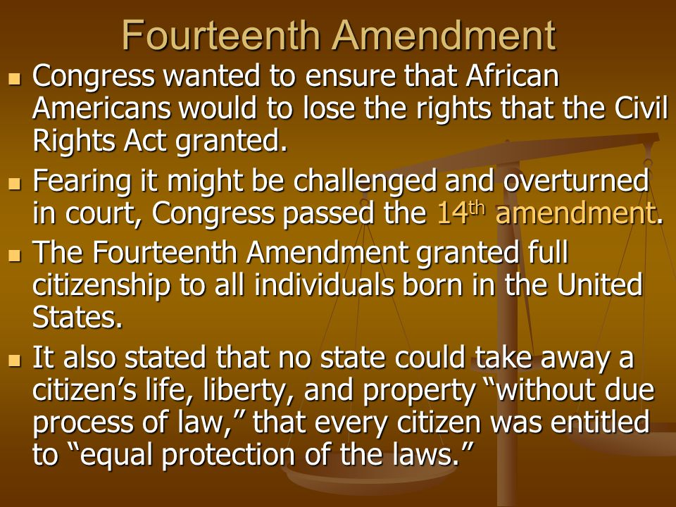 Republican Victory The 14 th amendment became a major issue in the congressional elections of 1866.