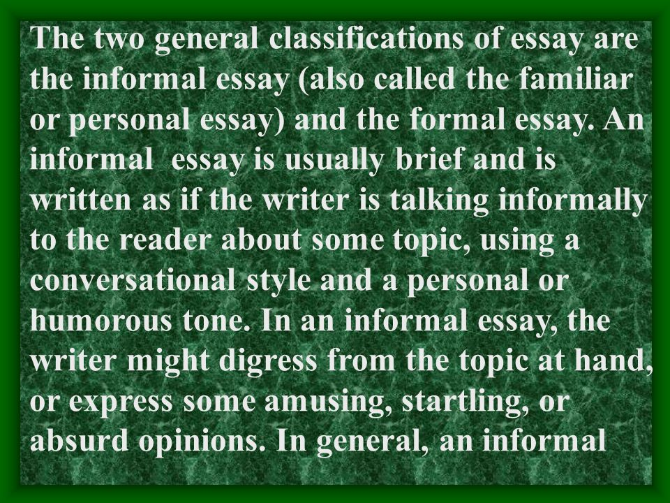 III. Style 1. A new genre: essay. An essay is a piece of prose writing, usually short, that deals with a subject in a limited way and expresses a part