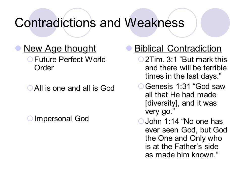 Contradictions and Weakness New Age thought  Future Perfect World Order  All is one and all is God  Impersonal God Biblical Contradiction  2Tim.