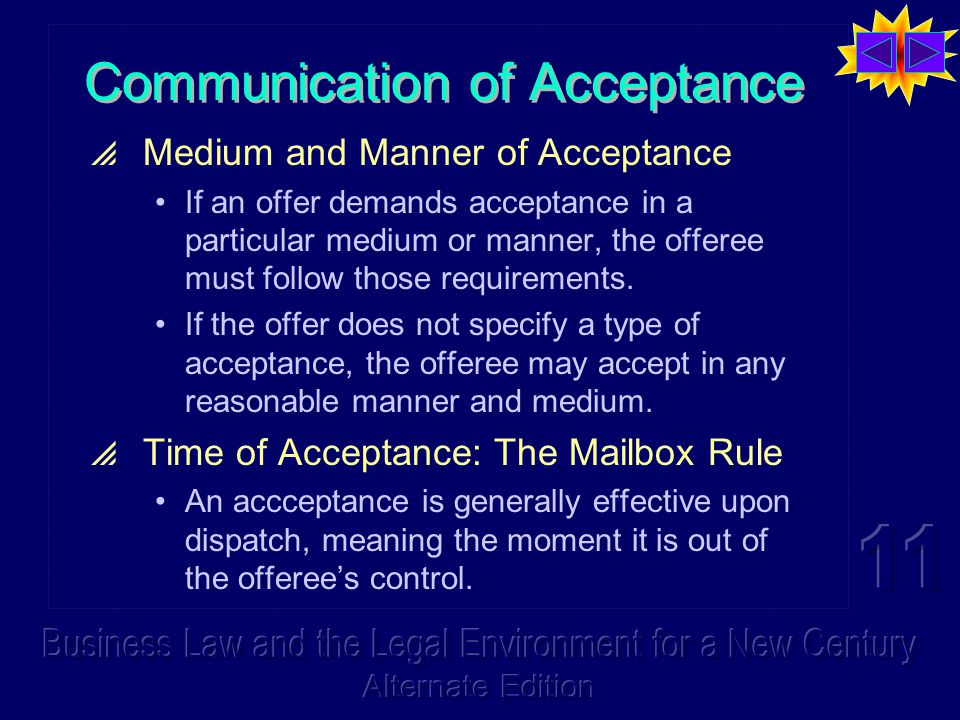 Communication of Acceptance  Medium and Manner of Acceptance If an offer demands acceptance in a particular medium or manner, the offeree must follow those requirements.