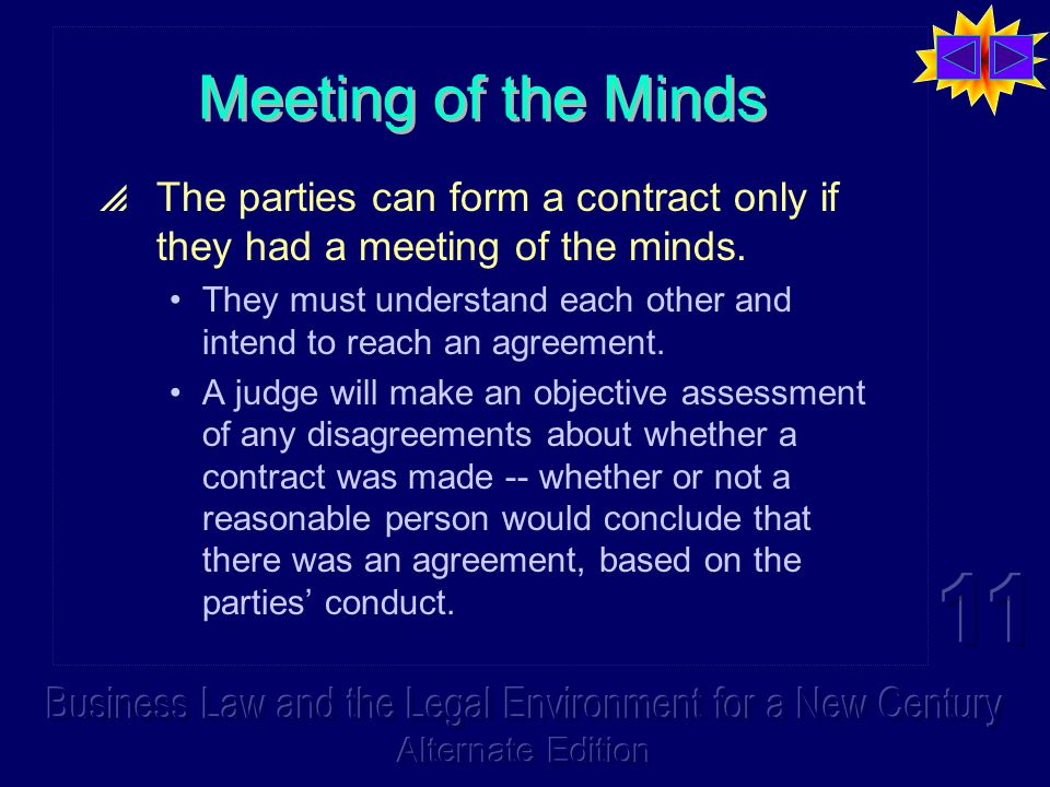 Meeting of the Minds  The parties can form a contract only if they had a meeting of the minds. They must understand each other and intend to reach an