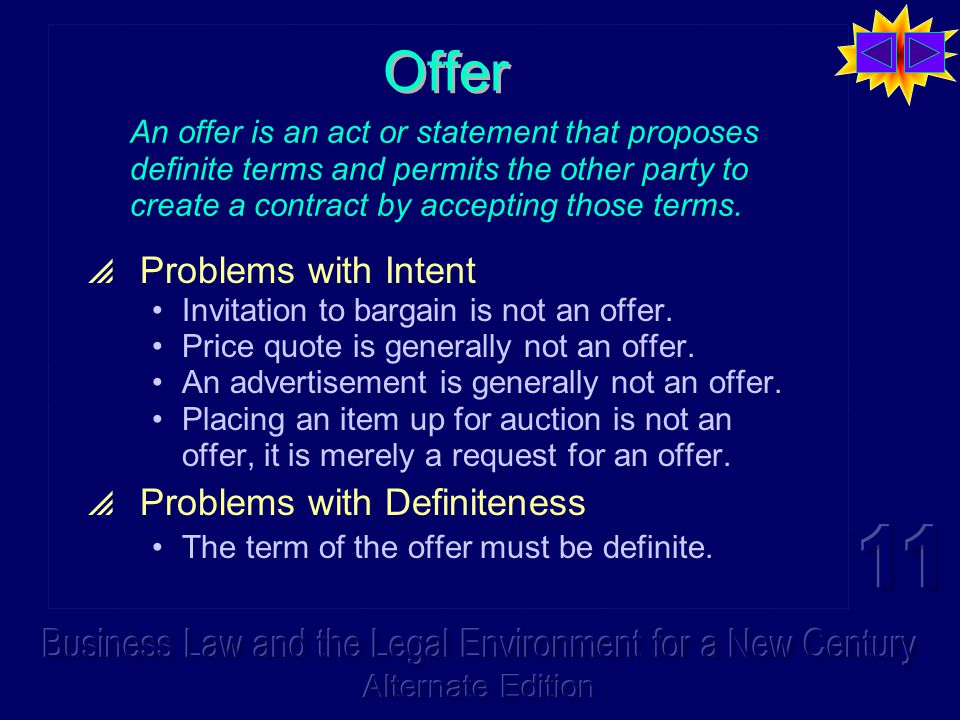 Offer  Problems with Intent Invitation to bargain is not an offer.
