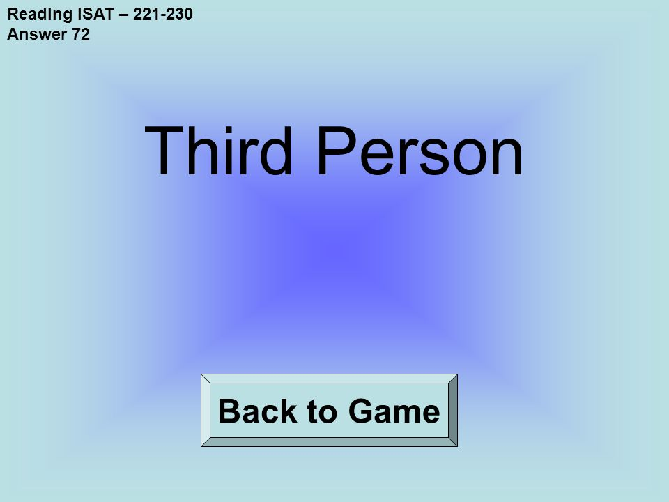 Reading ISAT – 221-230 Answer 72 Back to Game Third Person