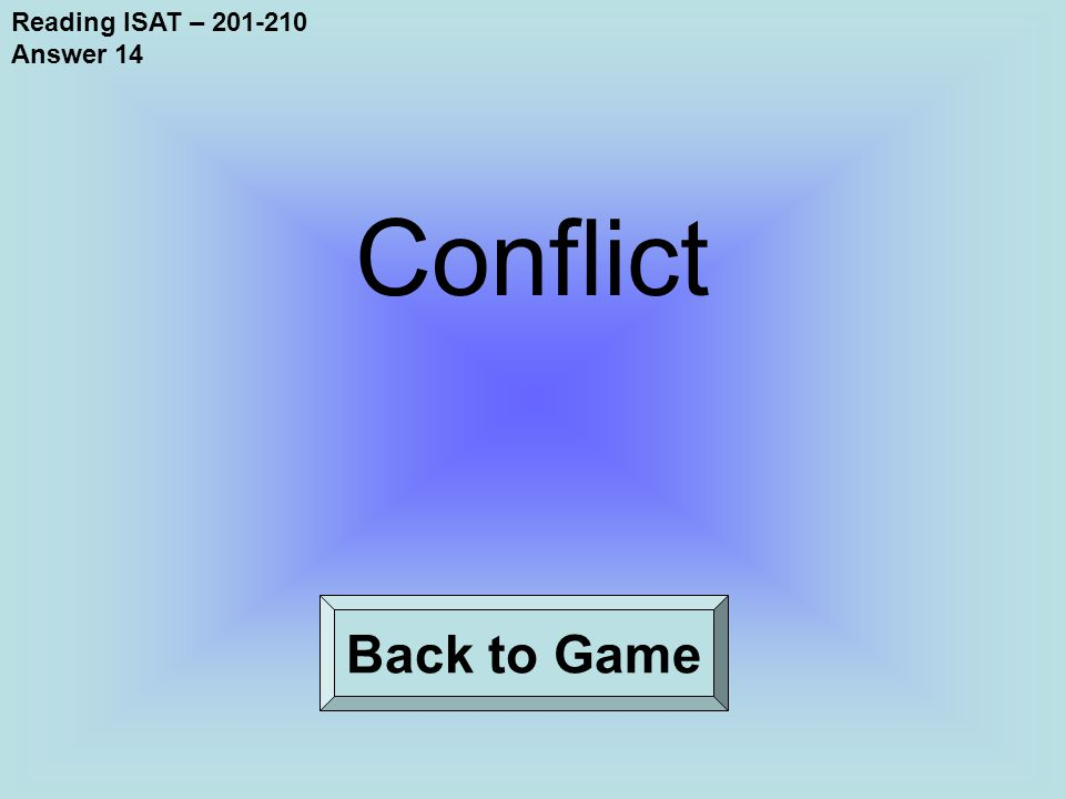 Reading ISAT – 201-210 Answer 14 Back to Game Conflict
