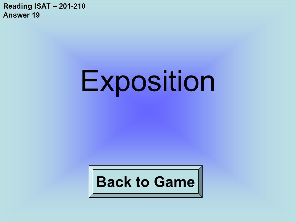 Reading ISAT – 201-210 Answer 19 Back to Game Exposition