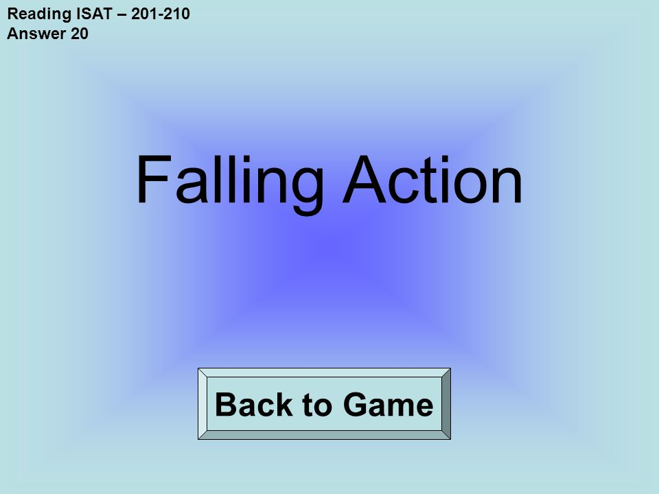 Reading ISAT – 201-210 Answer 20 Back to Game Falling Action