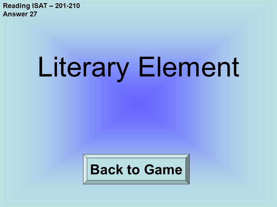Reading ISAT – 201-210 Answer 27 Back to Game Literary Element