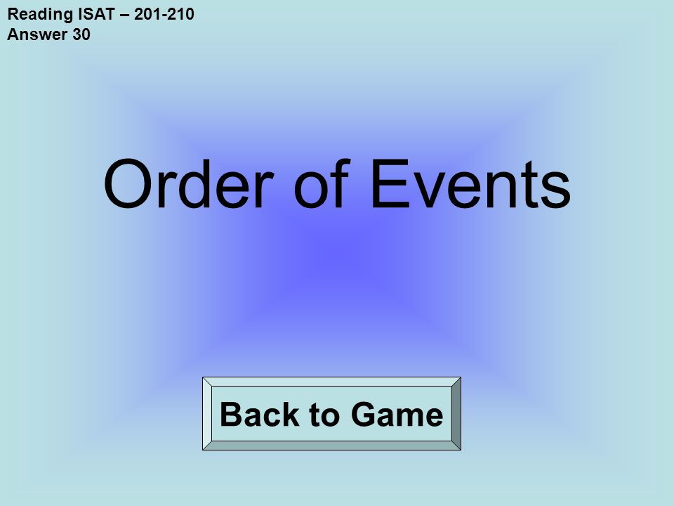 Reading ISAT – 201-210 Answer 30 Back to Game Order of Events