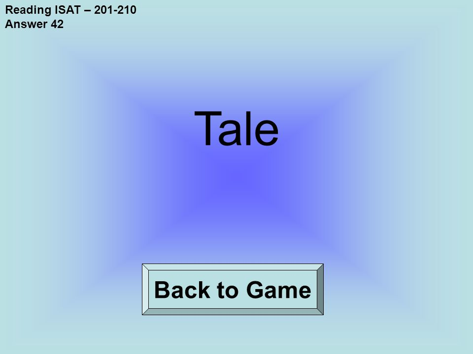 Reading ISAT – 201-210 Answer 42 Back to Game Tale