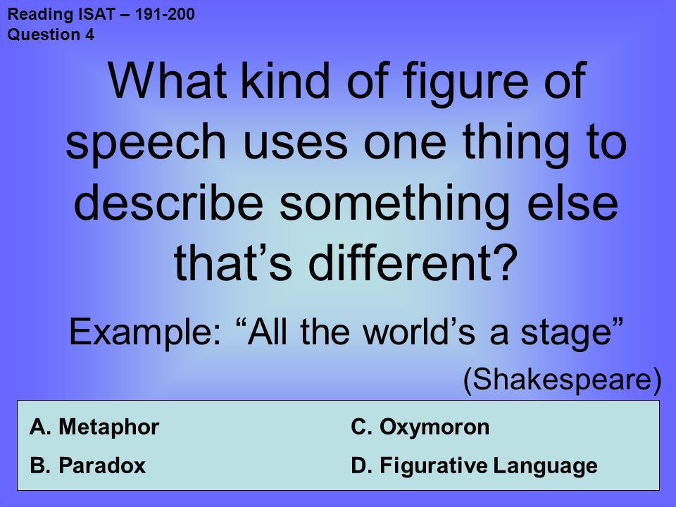 Reading ISAT – 191-200 Question 4 What kind of figure of speech uses one thing to describe something else that's different.