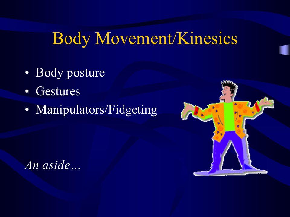 Body Movement/Kinesics Body posture Gestures Manipulators/Fidgeting An aside…
