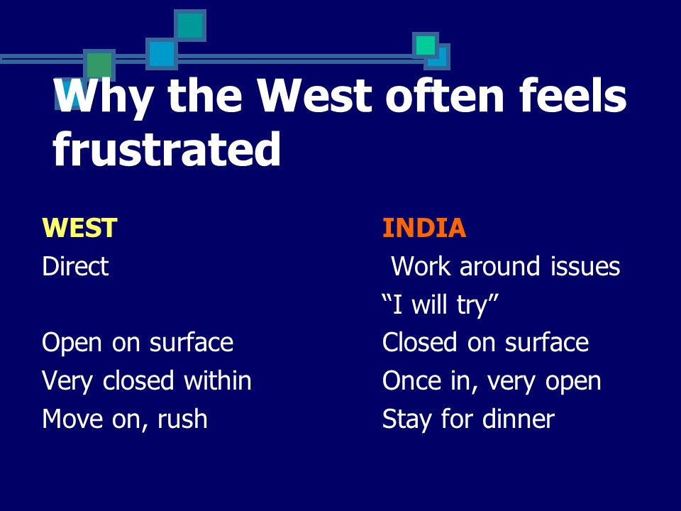 Why the West often feels frustrated WESTINDIA Direct Work around issues I will try Open on surfaceClosed on surface Very closed withinOnce in, very open Move on, rushStay for dinner
