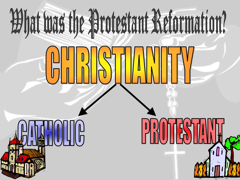  Prior to the Reformation all Christians were Roman Catholic  The [REFORM]ation was an attempt to REFORM the Catholic Church  People like Martin Luther wanted to get rid of the corruption and restore the people's faith in the church  In the end the reformers, like Luther, established their own religions  The Reformation caused a split in Christianity with the formation of these new Protestant religions