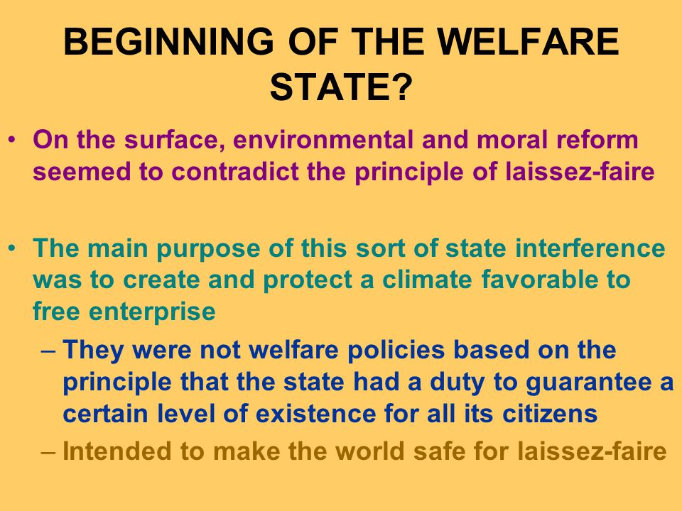BEGINNING OF THE WELFARE STATE.