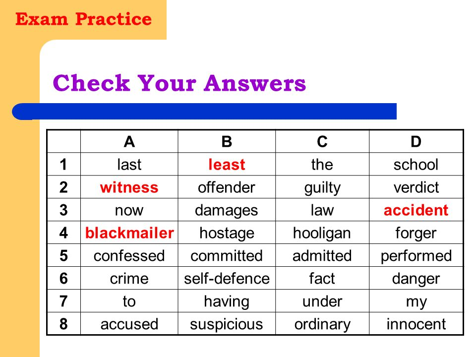 Exam Practice Check Your Answers ABCD 1lastleasttheschool 2witnessoffenderguiltyverdict 3nowdamageslawaccident 4blackmailerhostagehooliganforger 5conf