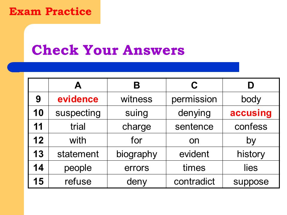 Exam Practice Check Your Answers ABCD 9evidencewitnesspermissionbody 10suspectingsuingdenyingaccusing 11trialchargesentenceconfess 12withforonby 13sta