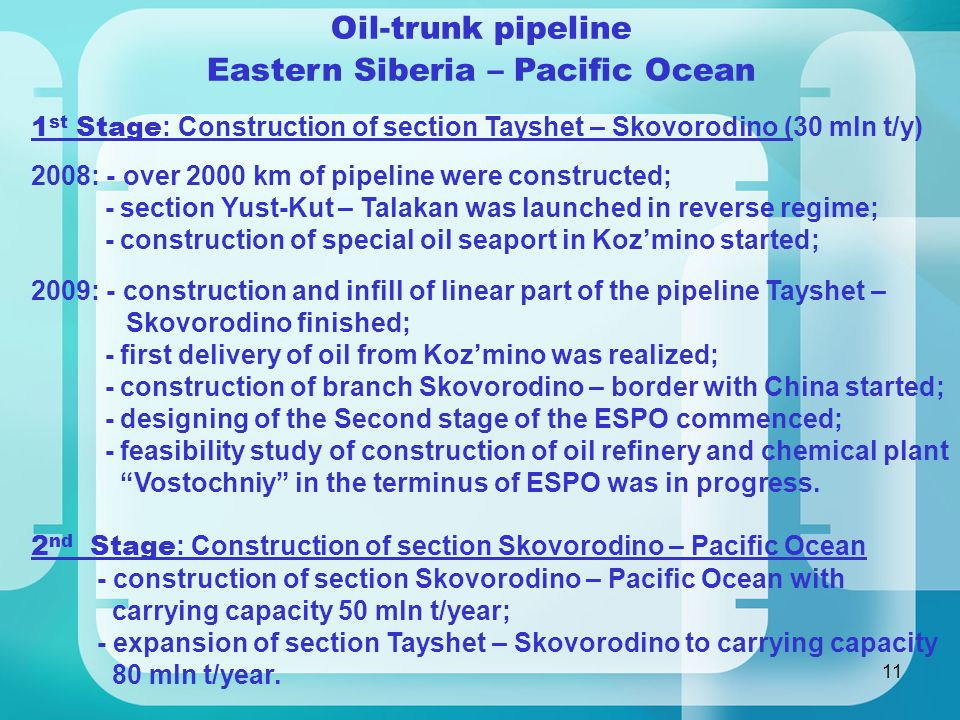 11 1 st Stage : Construction of section Tayshet – Skovorodino (30 mln t/y) 2008: - over 2000 km of pipeline were constructed; - section Yust-Kut – Talakan was launched in reverse regime; - construction of special oil seaport in Koz'mino started; 2009: - construction and infill of linear part of the pipeline Tayshet – Skovorodino finished; - first delivery of oil from Koz'mino was realized; - construction of branch Skovorodino – border with China started; - designing of the Second stage of the ESPO commenced; - feasibility study of construction of oil refinery and chemical plant Vostochniy in the terminus of ESPO was in progress.