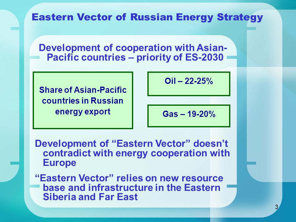 3 Eastern Vector of Russian Energy Strategy Development of cooperation with Asian- Pacific countries – priority of ES-2030 Share of Asian-Pacific countries in Russian energy export Oil – 22-25% Gas – 19-20% Development of Eastern Vector doesn't contradict with energy cooperation with Europe Eastern Vector relies on new resource base and infrastructure in the Eastern Siberia and Far East