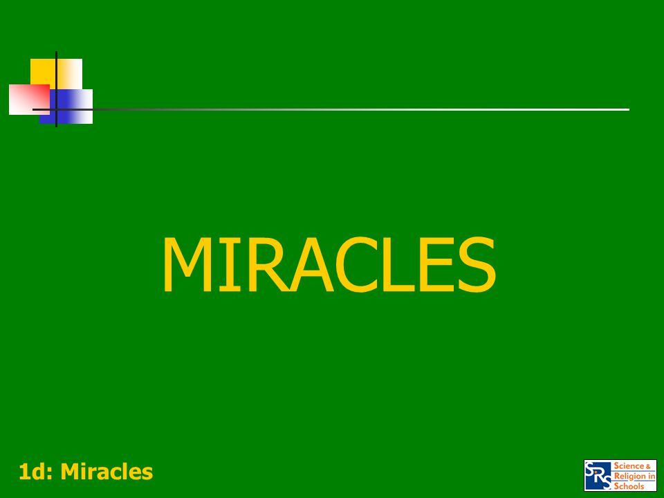 CONCEPTUAL CLARITY Because of the way the term 'miracle' can be variously used, it is important to agree on which sense is being deployed.