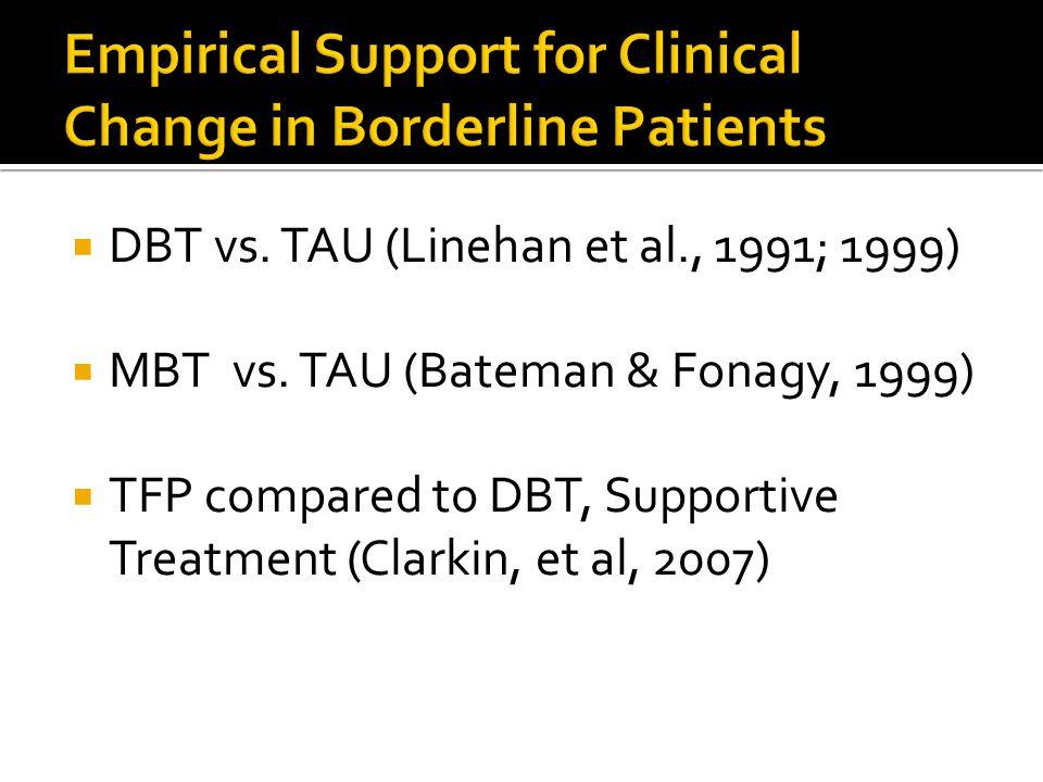  DBT vs. TAU (Linehan et al., 1991; 1999)  MBT vs.