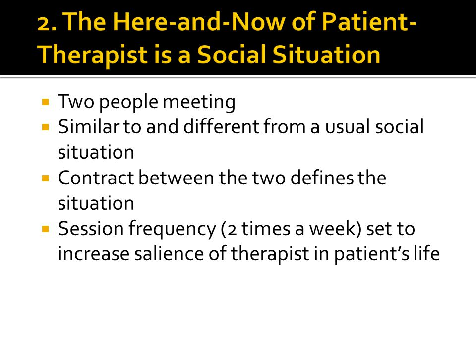  Two people meeting  Similar to and different from a usual social situation  Contract between the two defines the situation  Session frequency (2 times a week) set to increase salience of therapist in patient's life