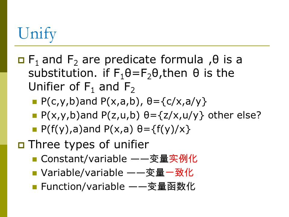 Unify  F 1 and F 2 are predicate formula,θ is a substitution.