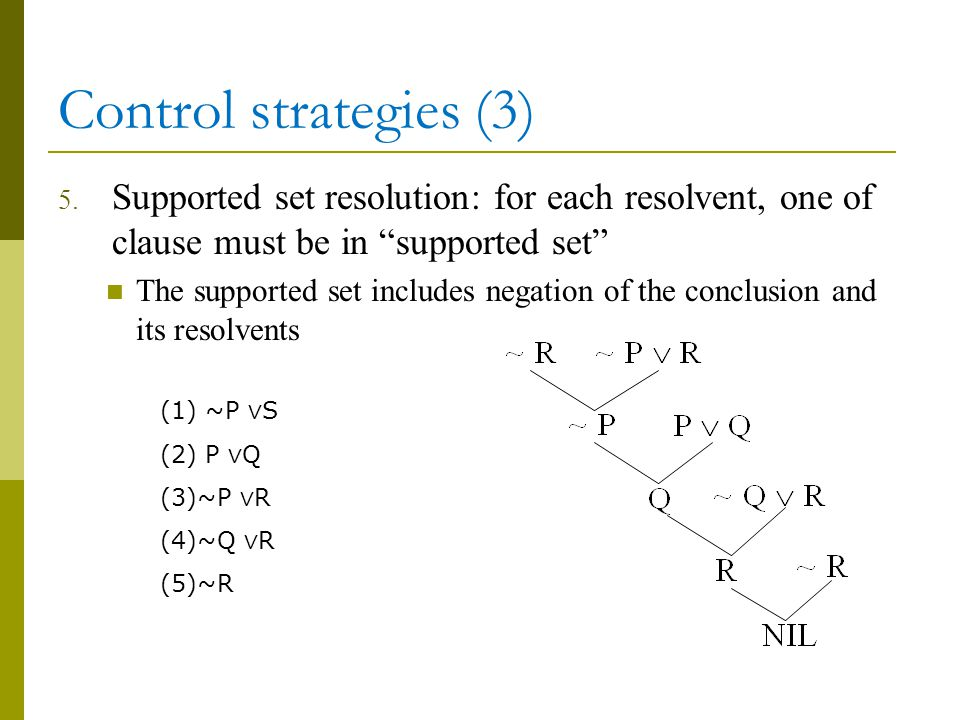"""Control strategies (3) 5. Supported set resolution: for each resolvent, one of clause must be in """"supported set"""" The supported set includes negation o"""