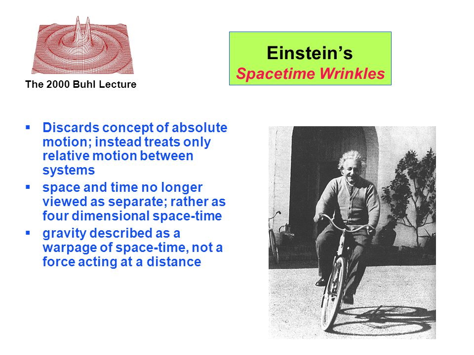 The 2000 Buhl Lecture Einstein's Spacetime Wrinkles  Discards concept of absolute motion; instead treats only relative motion between systems  space and time no longer viewed as separate; rather as four dimensional space-time  gravity described as a warpage of space-time, not a force acting at a distance