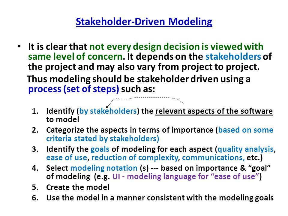 Stakeholder-Driven Modeling It is clear that not every design decision is viewed with same level of concern. It depends on the stakeholders of the pro