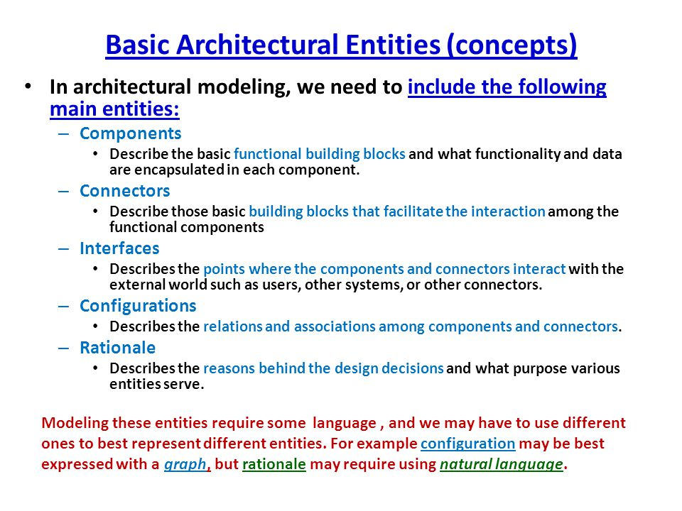Wide Spectrum of Architectural/Design Modeling Languages General: – Natural language (e.g.