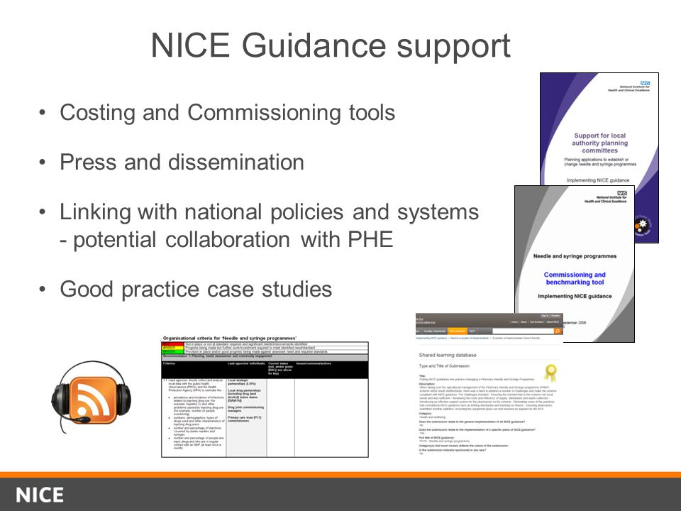 NICE Guidance support Costing and Commissioning tools Press and dissemination Linking with national policies and systems - potential collaboration wit