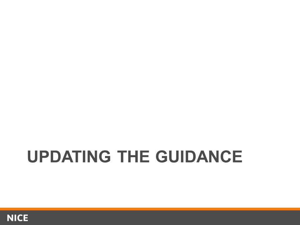 UPDATING THE GUIDANCE