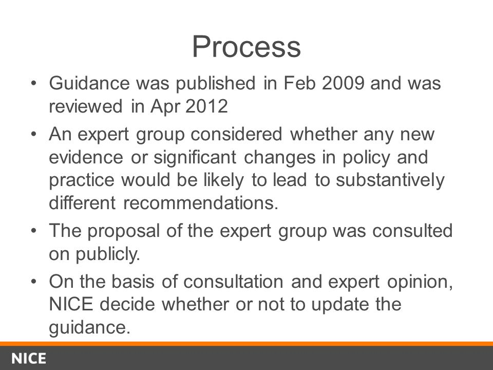 Process Guidance was published in Feb 2009 and was reviewed in Apr 2012 An expert group considered whether any new evidence or significant changes in
