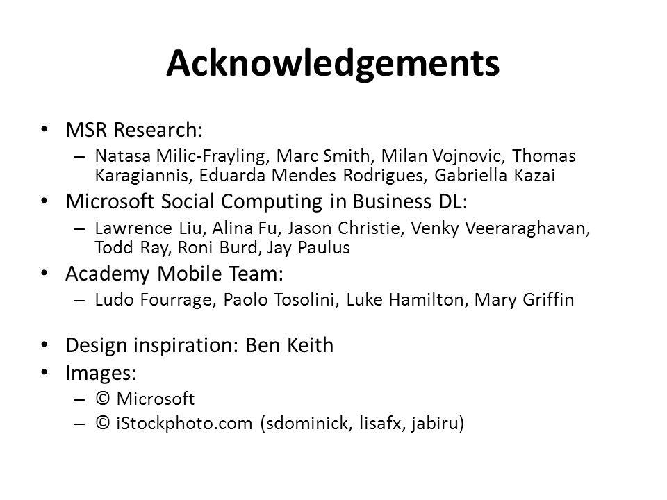 Acknowledgements MSR Research: – Natasa Milic-Frayling, Marc Smith, Milan Vojnovic, Thomas Karagiannis, Eduarda Mendes Rodrigues, Gabriella Kazai Micr