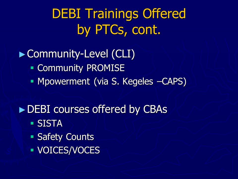 Addressing DEBI Adaptations at Agency Level, cont.