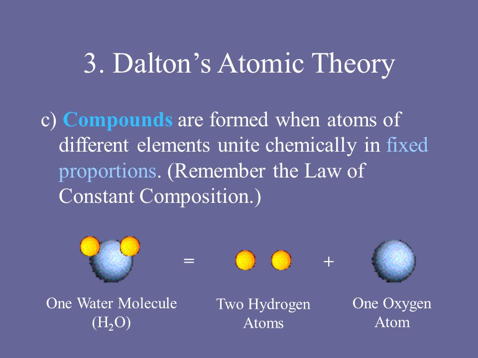 3. Dalton's Atomic Theory c) Compounds are formed when atoms of different elements unite chemically in fixed proportions. (Remember the Law of Constan