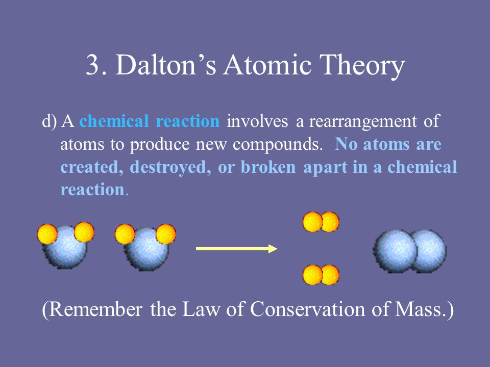 3. Dalton's Atomic Theory d) A chemical reaction involves a rearrangement of atoms to produce new compounds. No atoms are created, destroyed, or broke