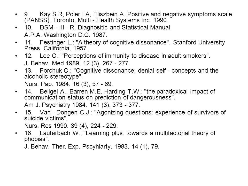 9.Kay S.R, Poler LA, Eliszbein A. Positive and negative symptoms scale (PANSS).