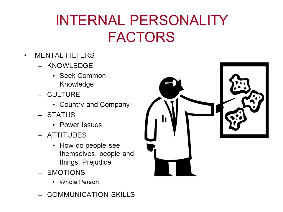 INTERNAL PERSONALITY FACTORS MENTAL FILTERS –KNOWLEDGE Seek Common Knowledge –CULTURE Country and Company –STATUS Power Issues –ATTITUDES How do people see themselves, people and things.