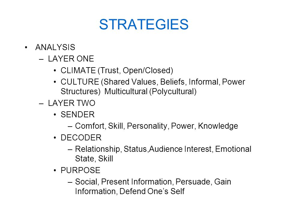 STRATEGIES ANALYSIS –LAYER ONE CLIMATE (Trust, Open/Closed) CULTURE (Shared Values, Beliefs, Informal, Power Structures) Multicultural (Polycultural) –LAYER TWO SENDER –Comfort, Skill, Personality, Power, Knowledge DECODER –Relationship, Status,Audience Interest, Emotional State, Skill PURPOSE –Social, Present Information, Persuade, Gain Information, Defend One's Self