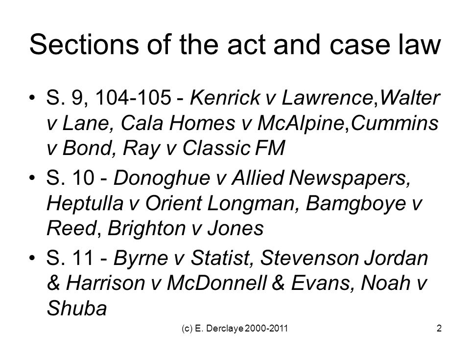 Sections of the act and case law S.