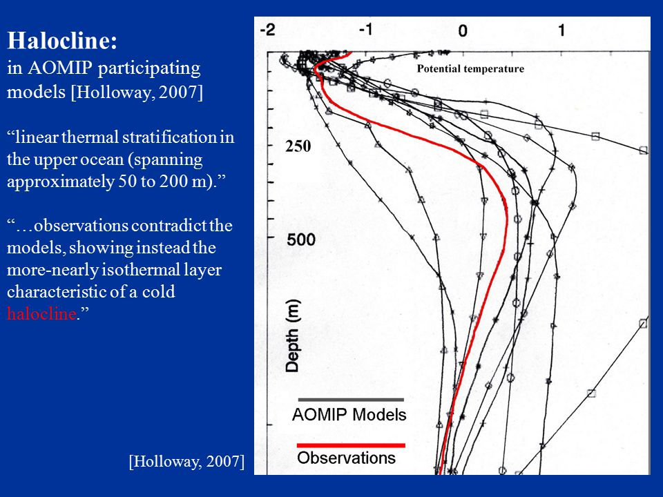 Halocline: in AOMIP participating models [Holloway, 2007] linear thermal stratification in the upper ocean (spanning approximately 50 to 200 m). …observations contradict the models, showing instead the more-nearly isothermal layer characteristic of a cold halocline. [Holloway, 2007]