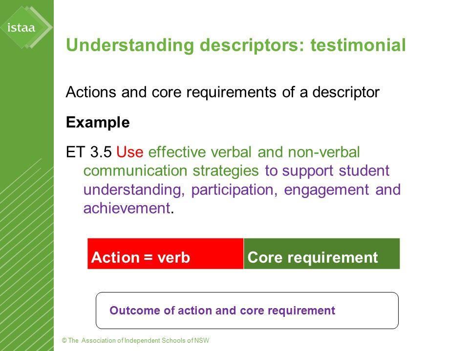 © The Association of Independent Schools of NSW Understanding descriptors: testimonial Actions and core requirements of a descriptor Example ET 3.5 Us