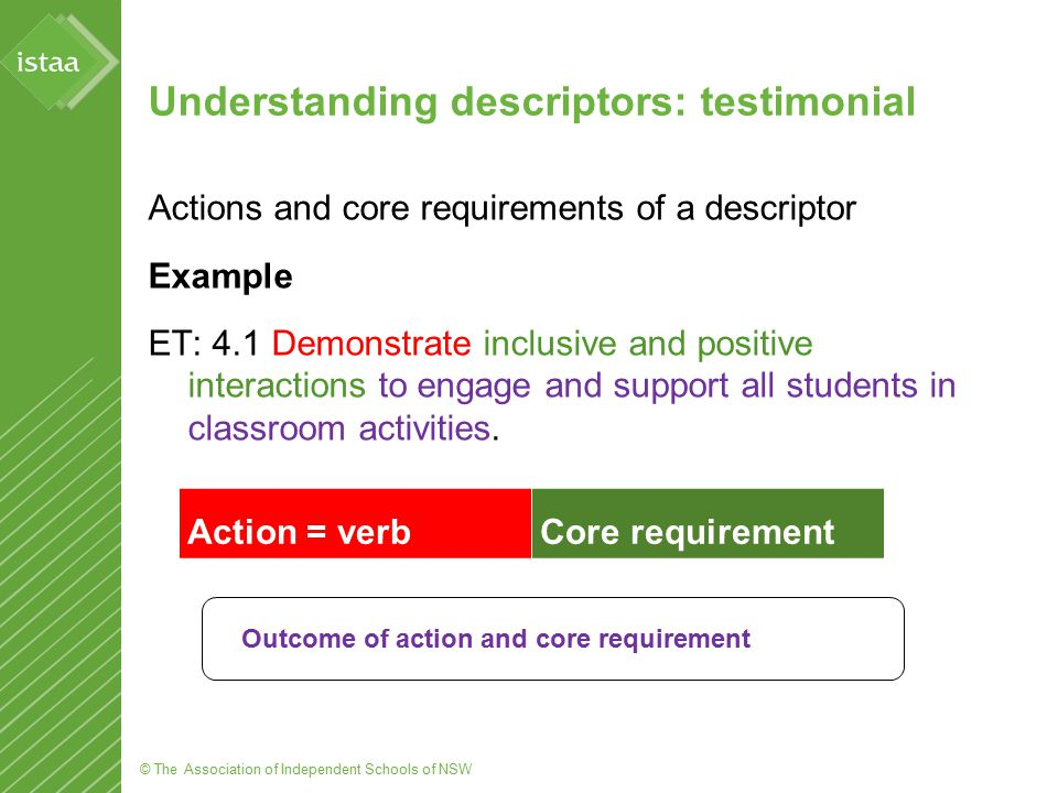 © The Association of Independent Schools of NSW Understanding descriptors: references Actions and core requirements of a descriptor Example ET 6.2 Evaluate professional learning undertaken to enhance knowledge and practice, targeted to professional needs and school priorities.