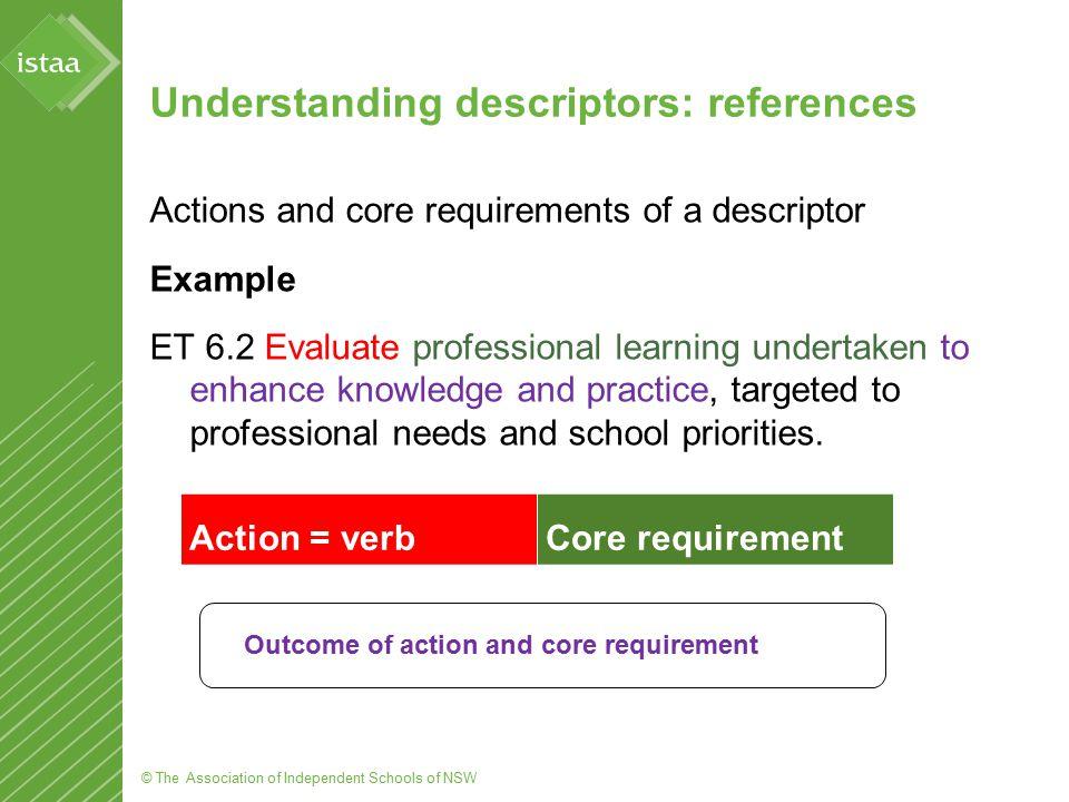 © The Association of Independent Schools of NSW Understanding descriptors: references Actions and core requirements of a descriptor Example ET 6.2 Eva